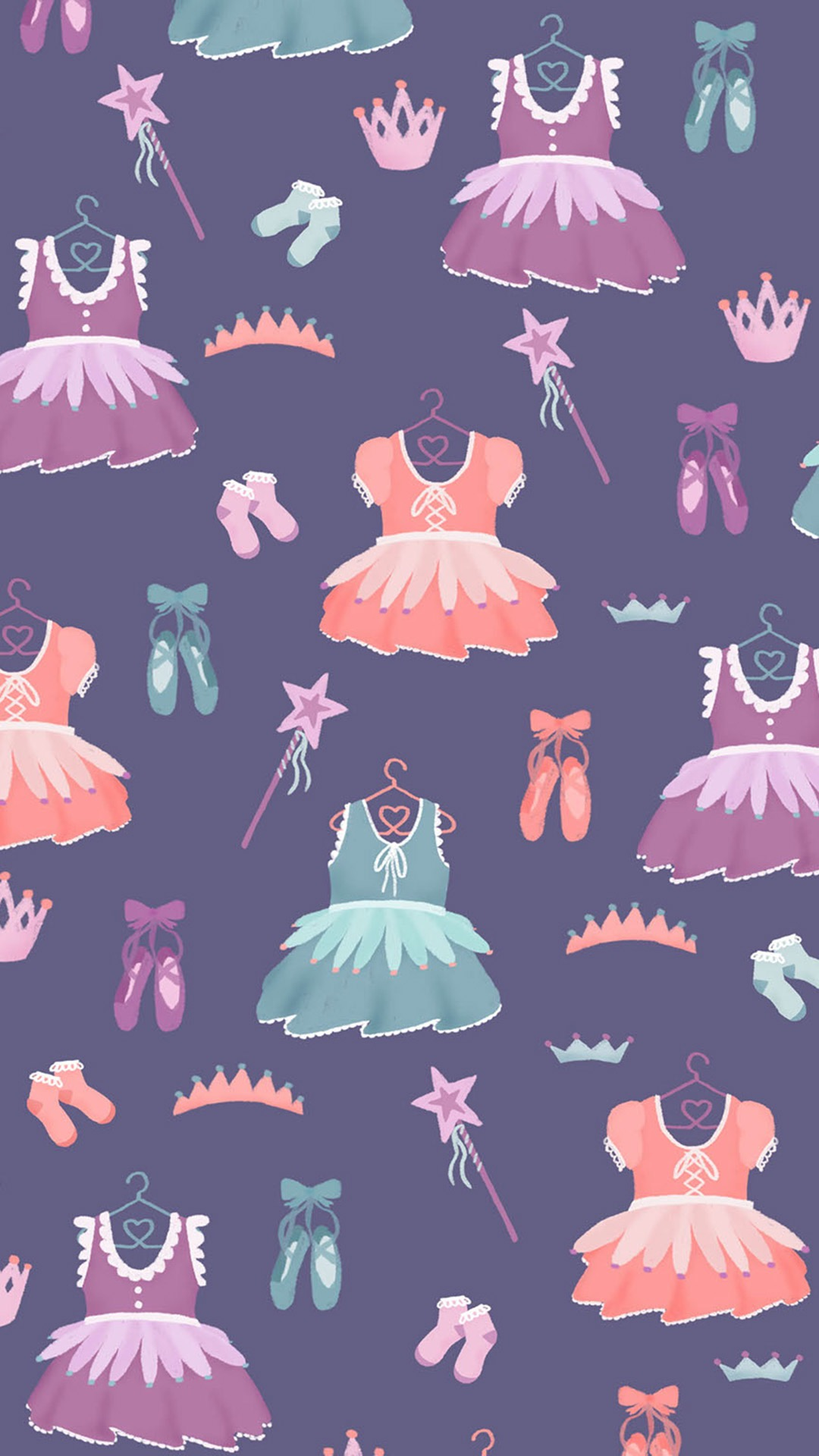 手绘 插画 平铺 裙子 紫色 苹果手机高清壁纸 1080x