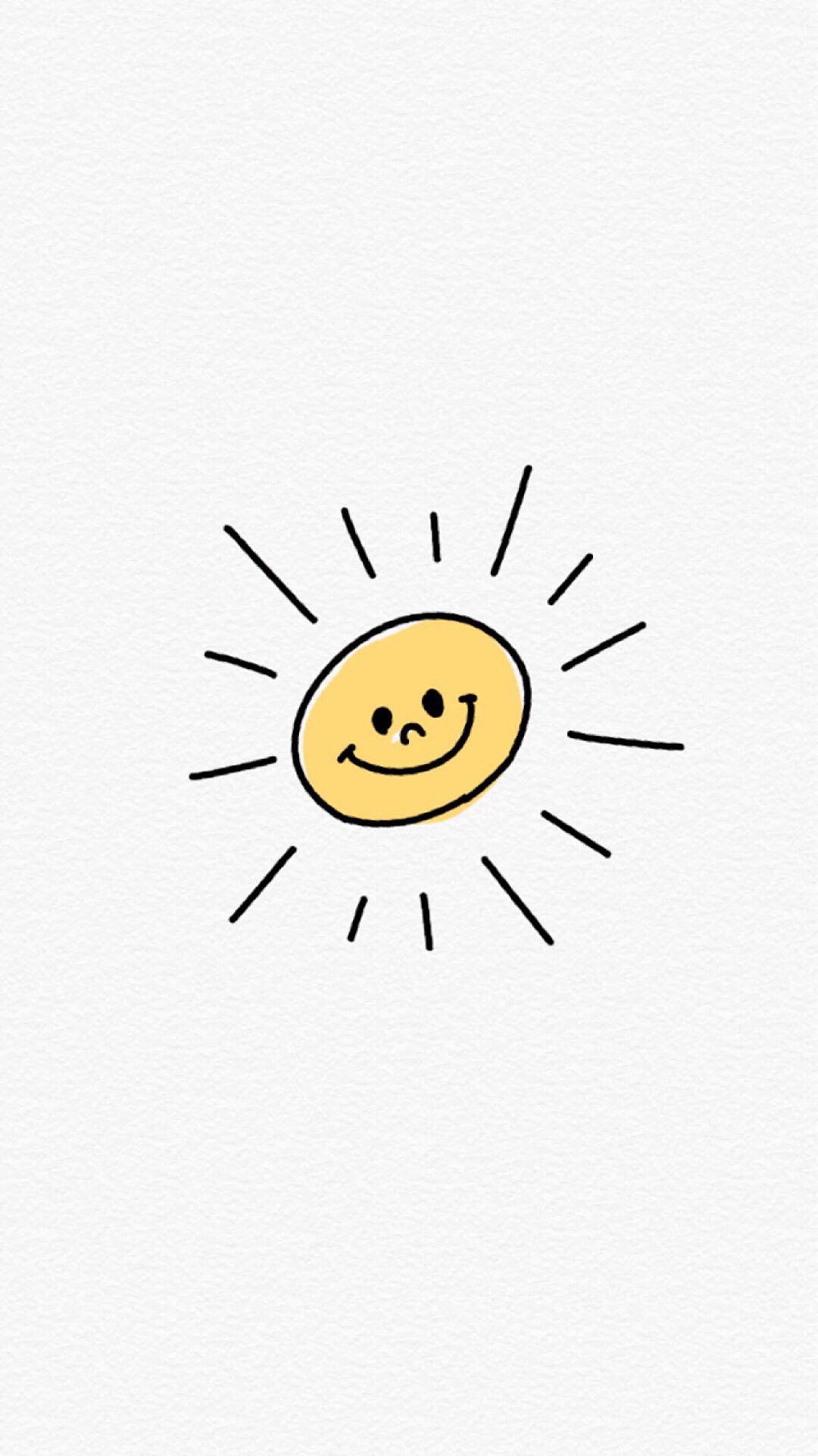 太阳 手绘 简笔画 笑脸 白色