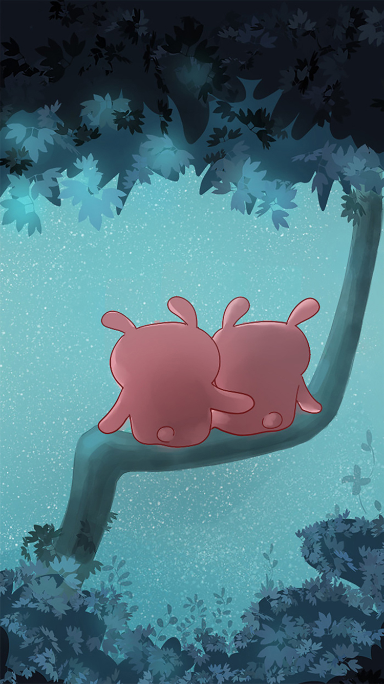 粉色背景 卡通小猫 听歌 可爱 苹果手机高清壁纸 750x