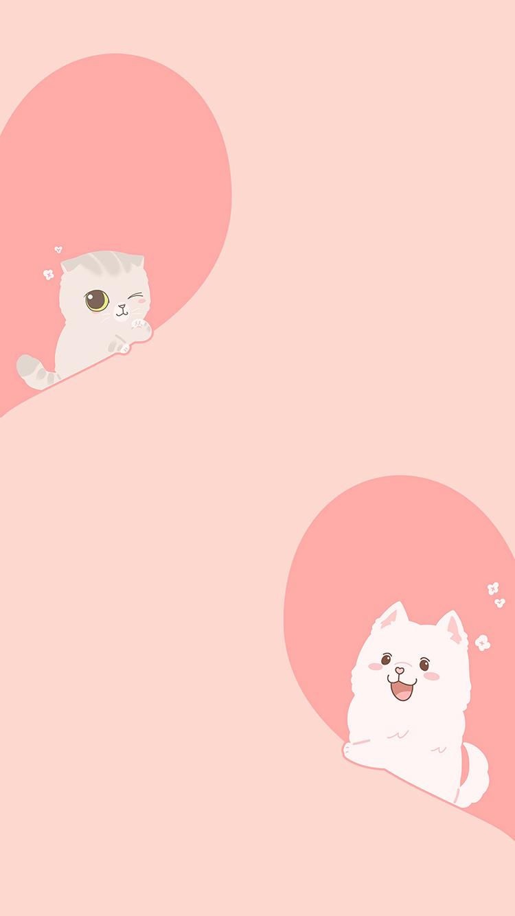 爱心 猫咪 狗 爱情 粉色 苹果手机高清壁纸 750x1334