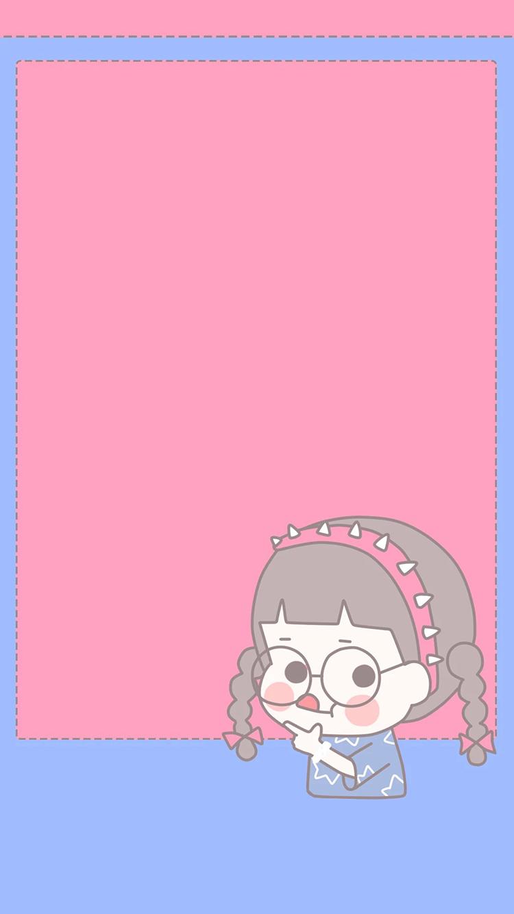 卡通女孩 粉色 辫子 可爱