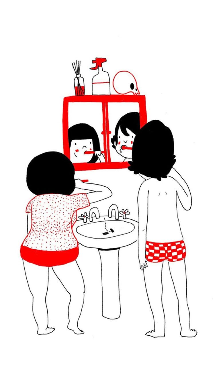 手绘 情侣 爱情 简笔画 苹果手机高清壁纸 750x1334 爱思助手