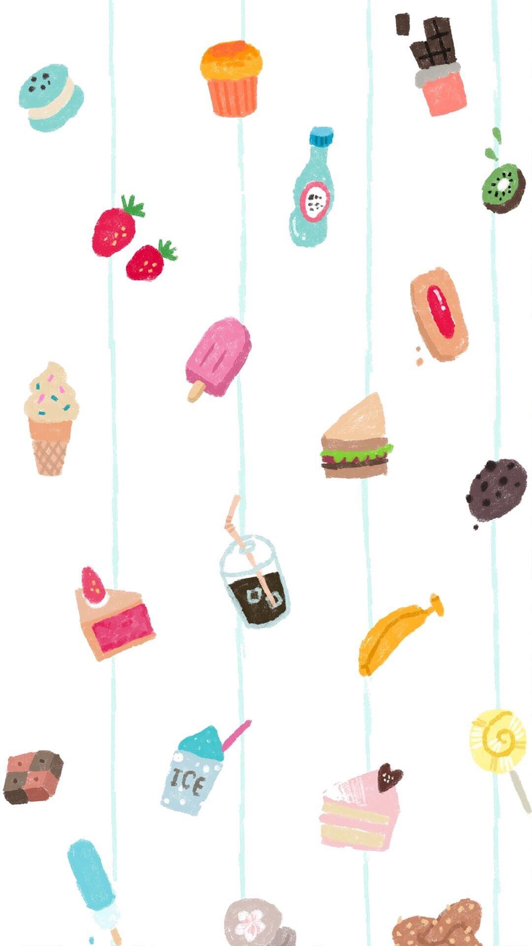 平铺创意手绘 各类甜品饮品