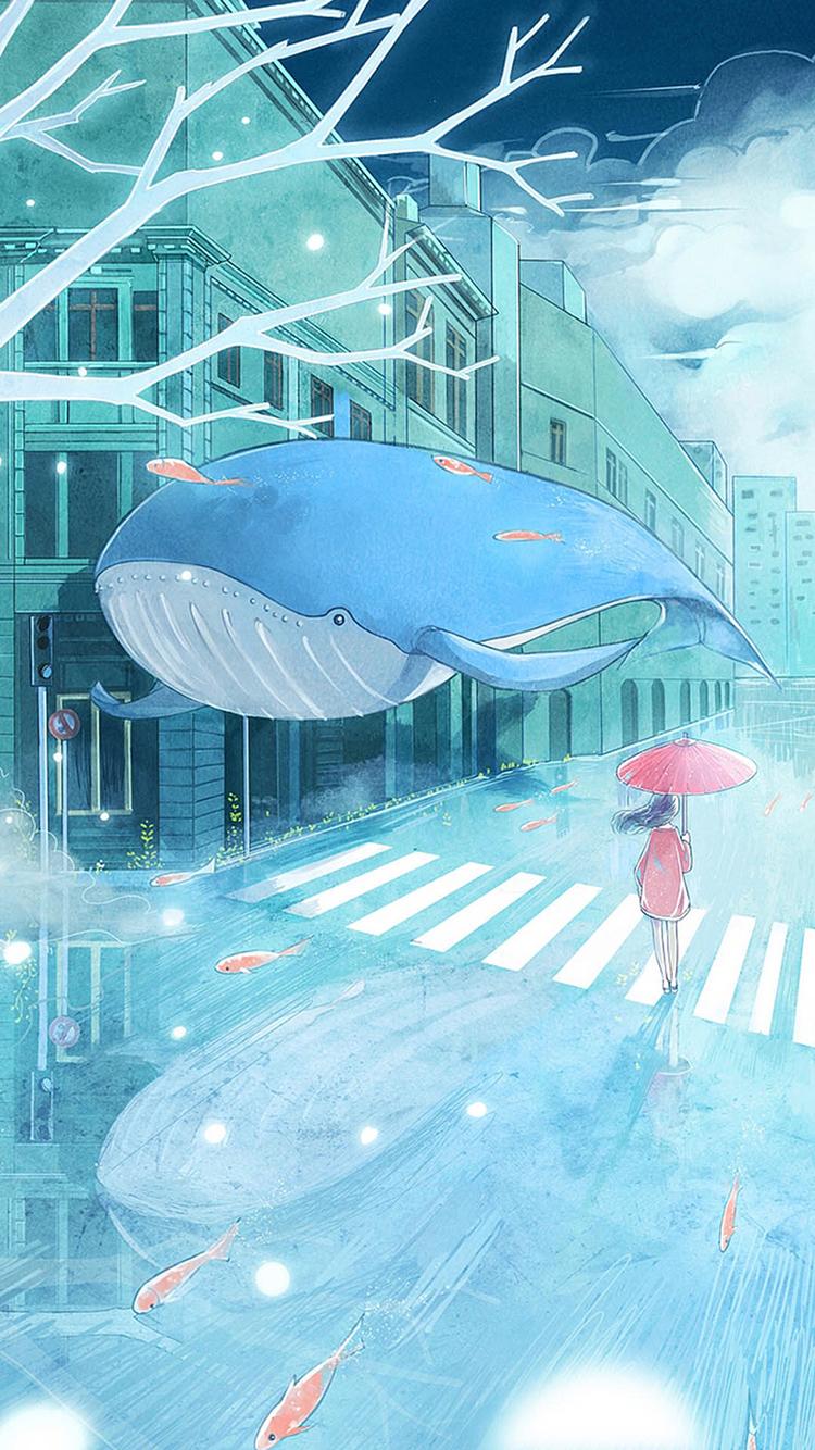 鲸 动漫 蓝色 手绘