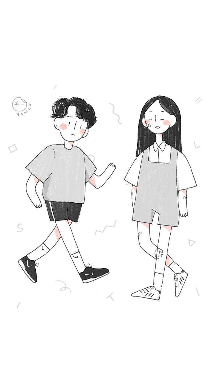 情侣 手绘 插画 白色 爱情