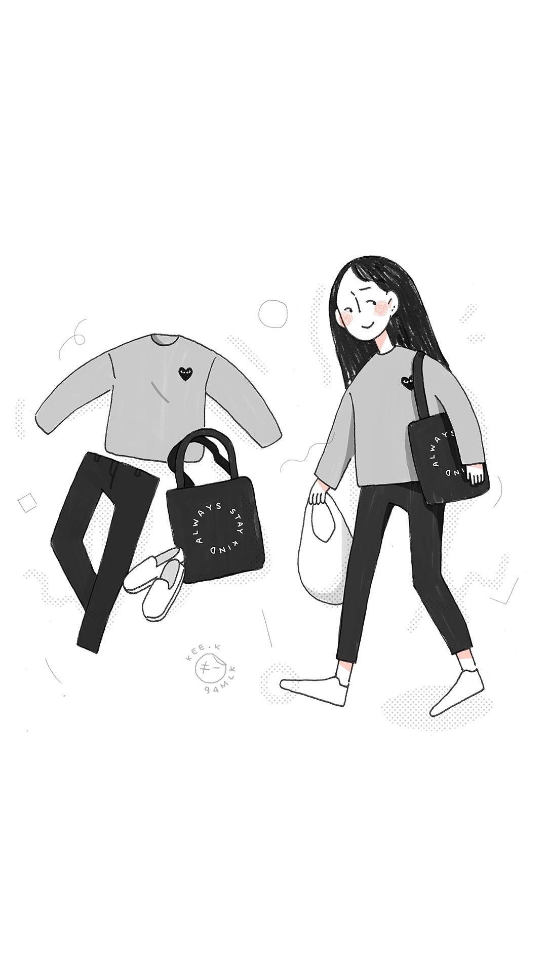 女孩 衣着 搭配 手绘 插画 黑白