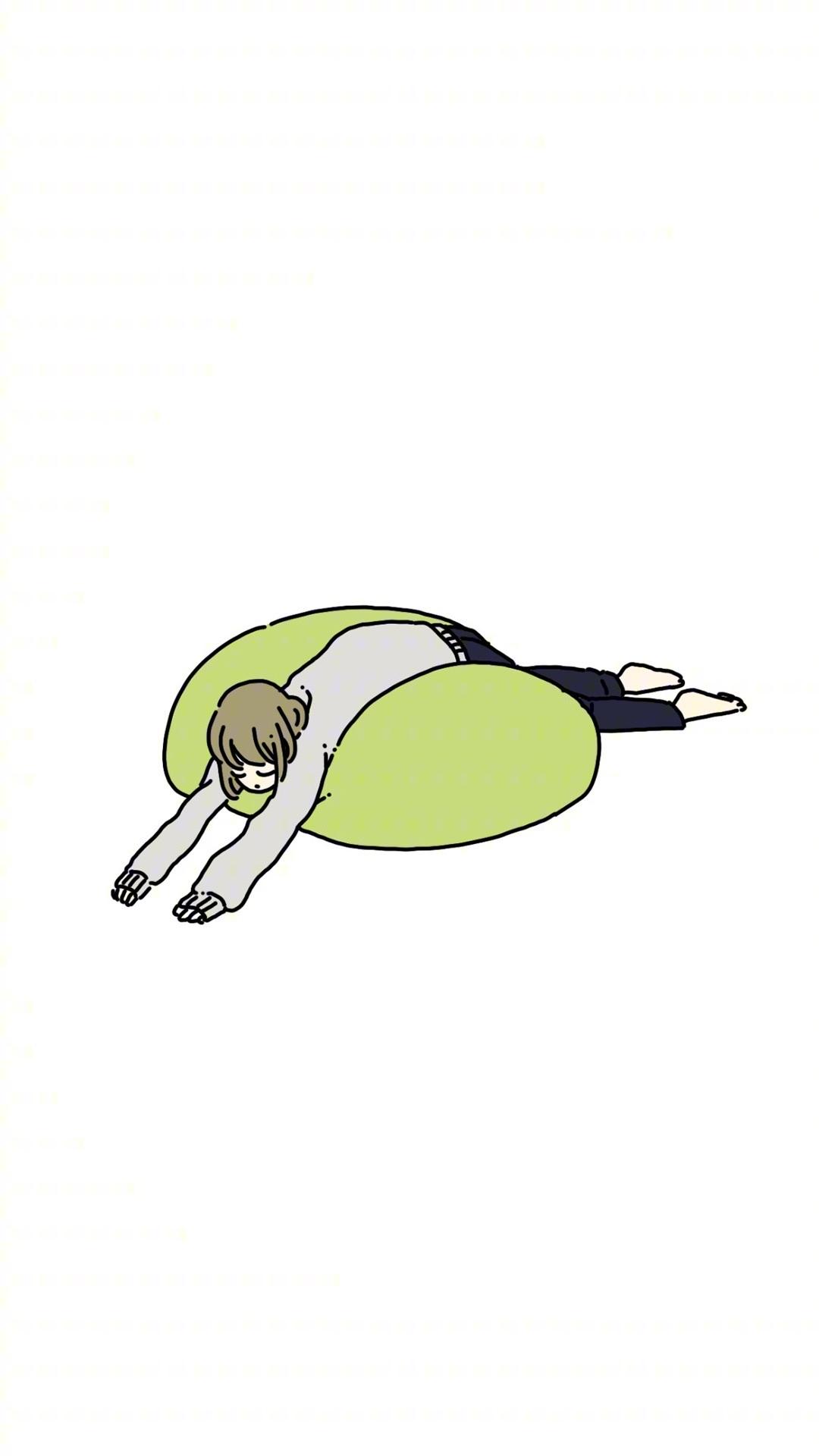 累趴 手绘 女孩 休闲 白色