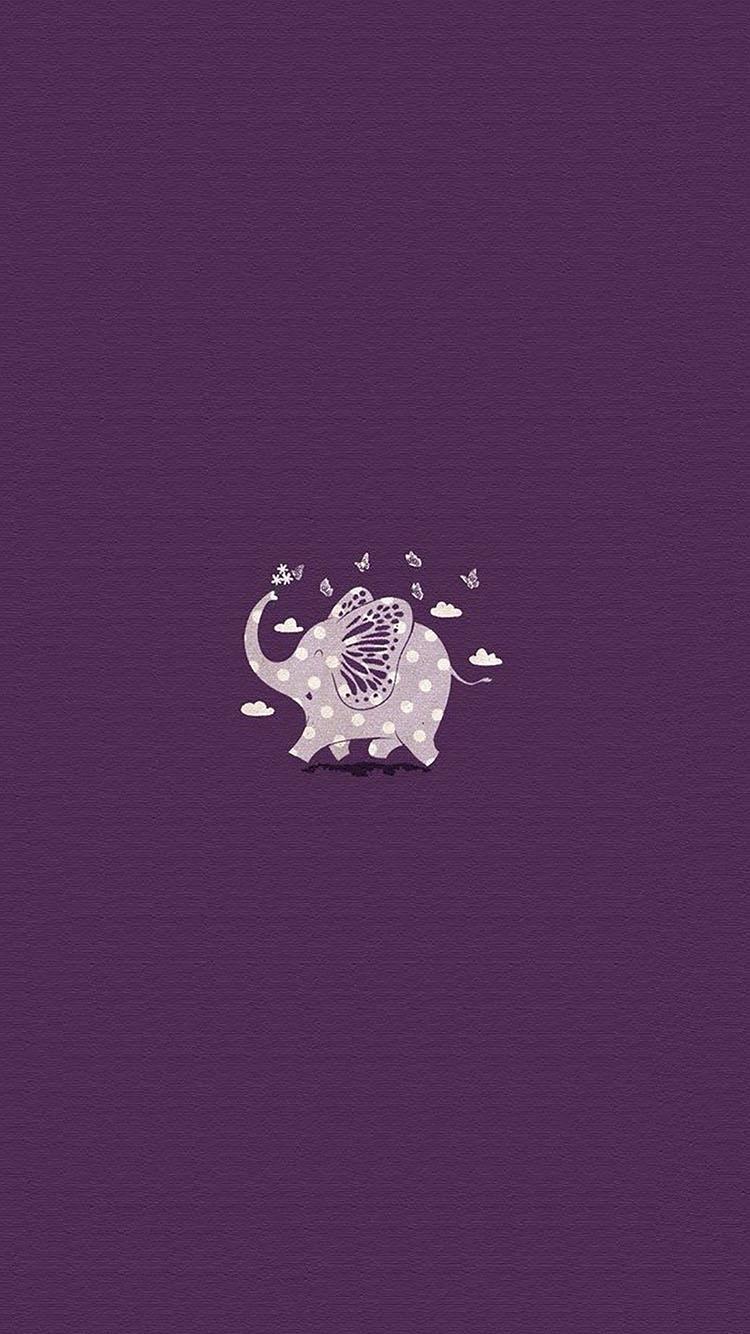 可爱卡通小象紫色主题小清新
