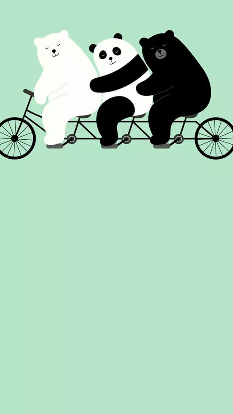 骑自行车的可爱大熊猫卡通