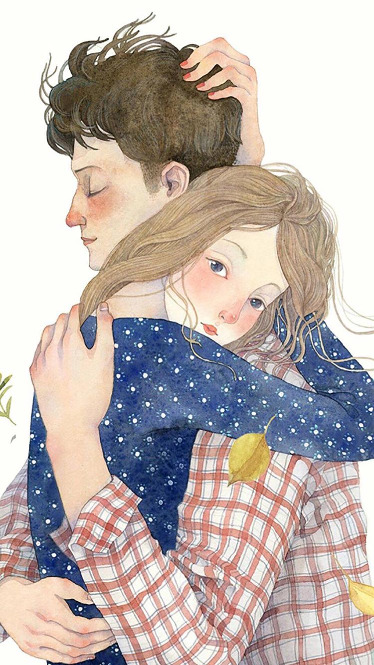 情侣 拥抱 爱情 手绘