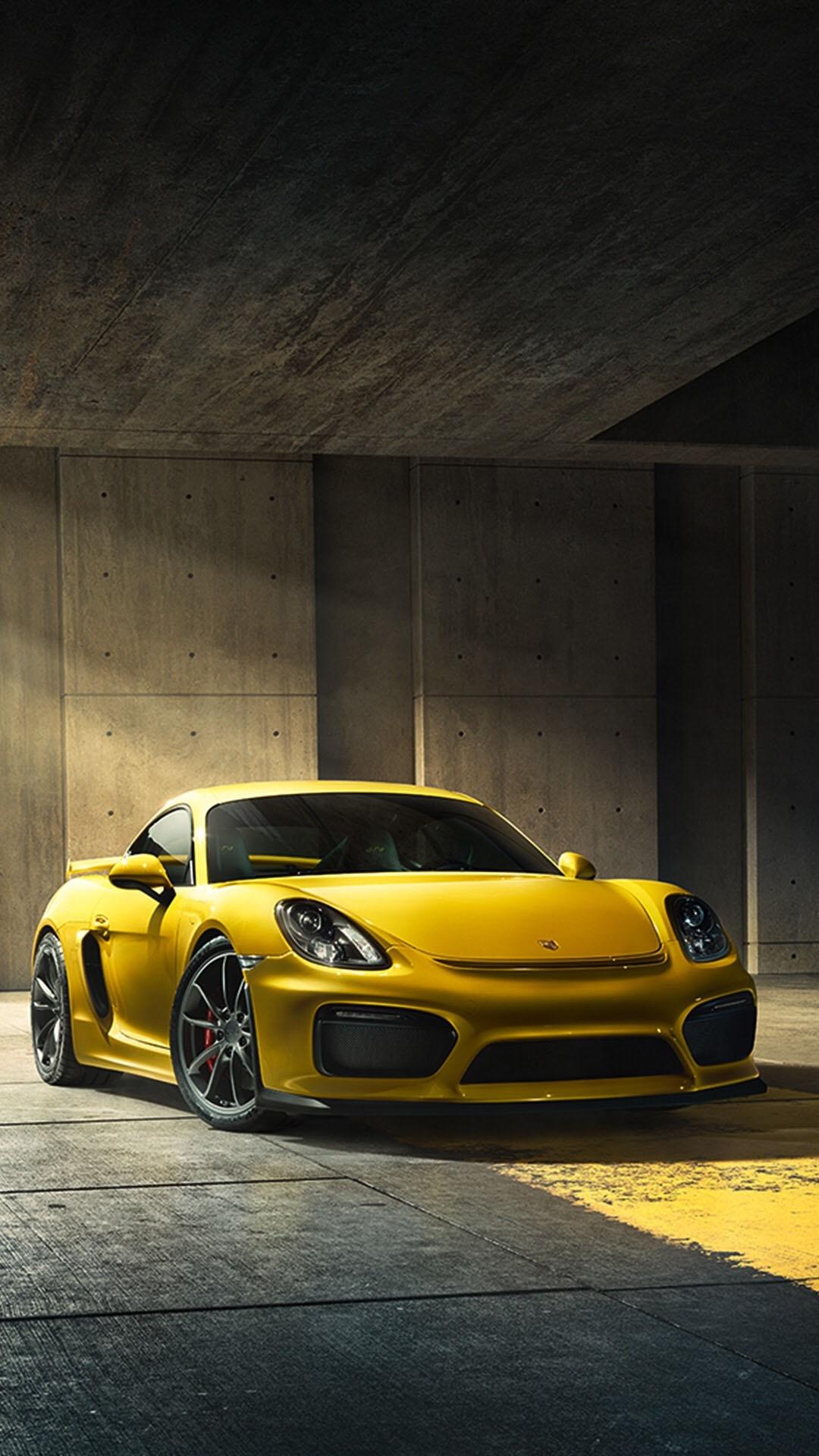 跑车 保时捷911 名车 黄色 苹果手机高清壁纸 1080x