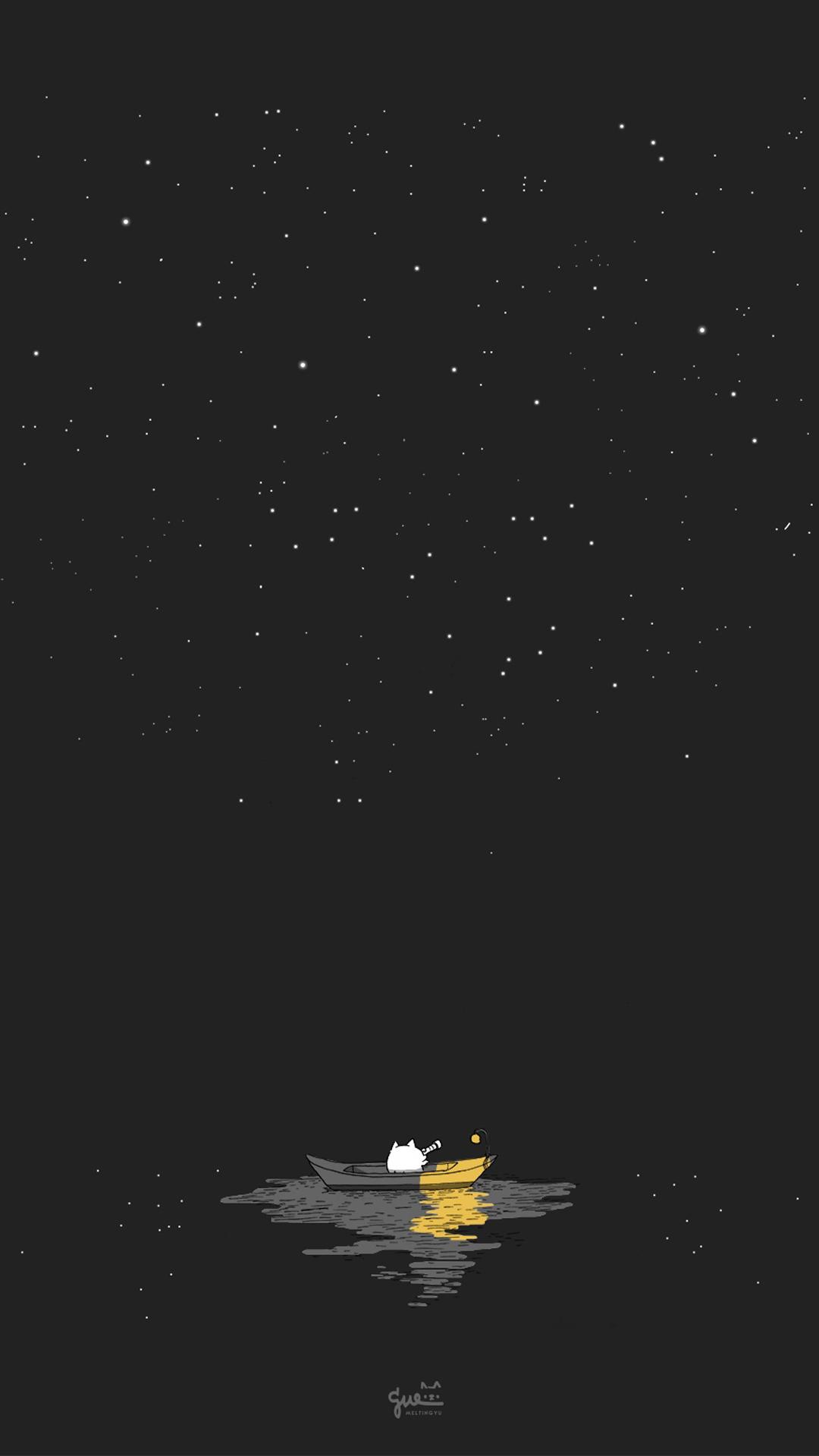 插画 手绘 夜空 星空 船 黑色