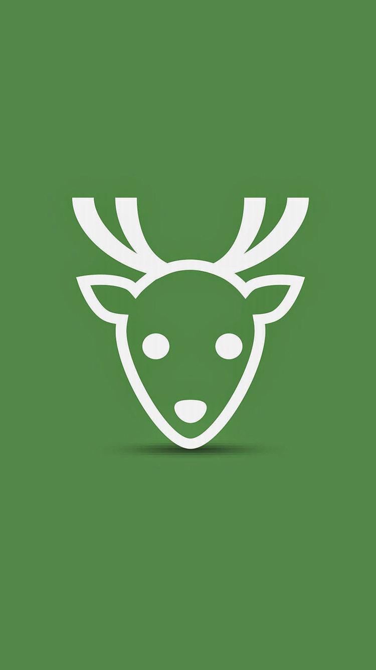 创意萌物手绘绿色护眼小清新 小鹿