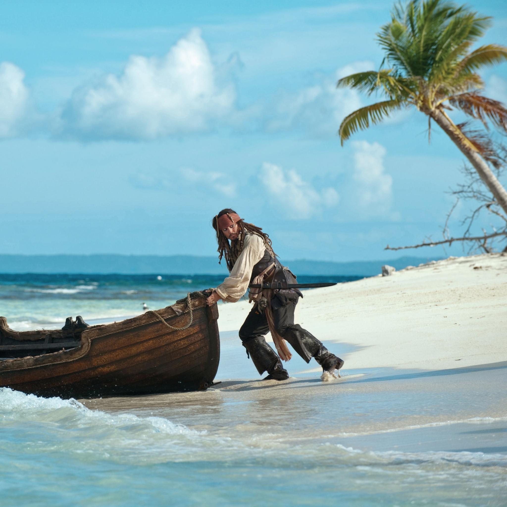杰克船长 加勒比海盗 小岛 苹果手机高清壁纸 2048x