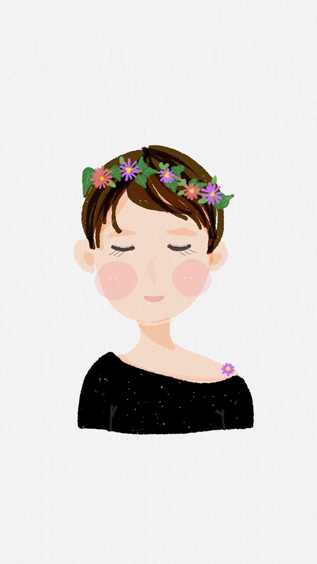 短发女孩 手绘 插画 花环