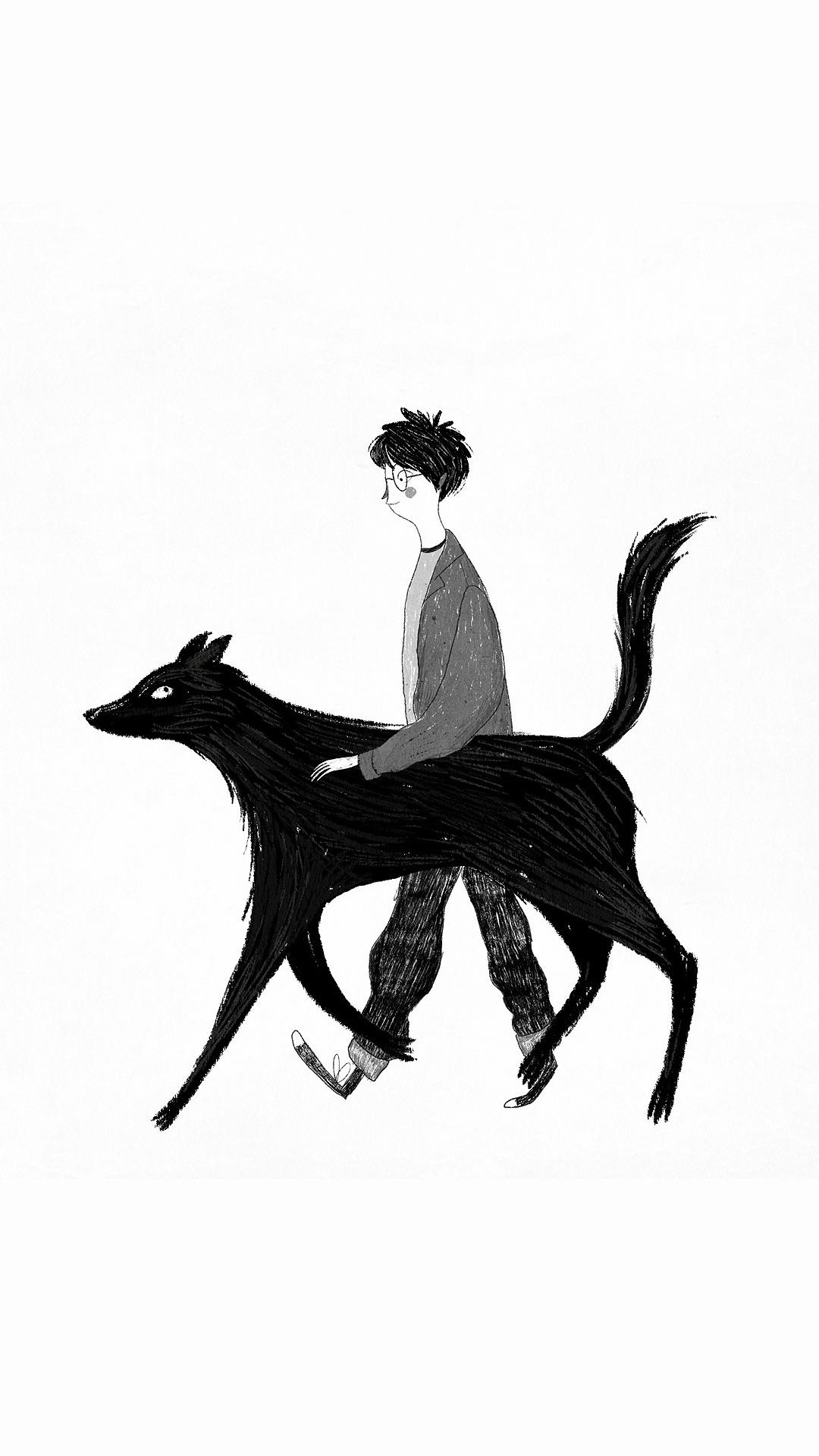 手绘 男孩 狗 黑白 插画