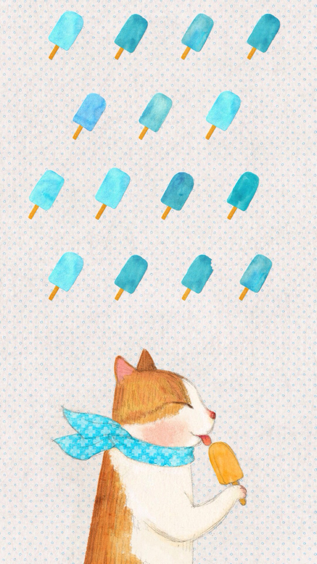 手绘猫咪 吃冰棍 小清新画风