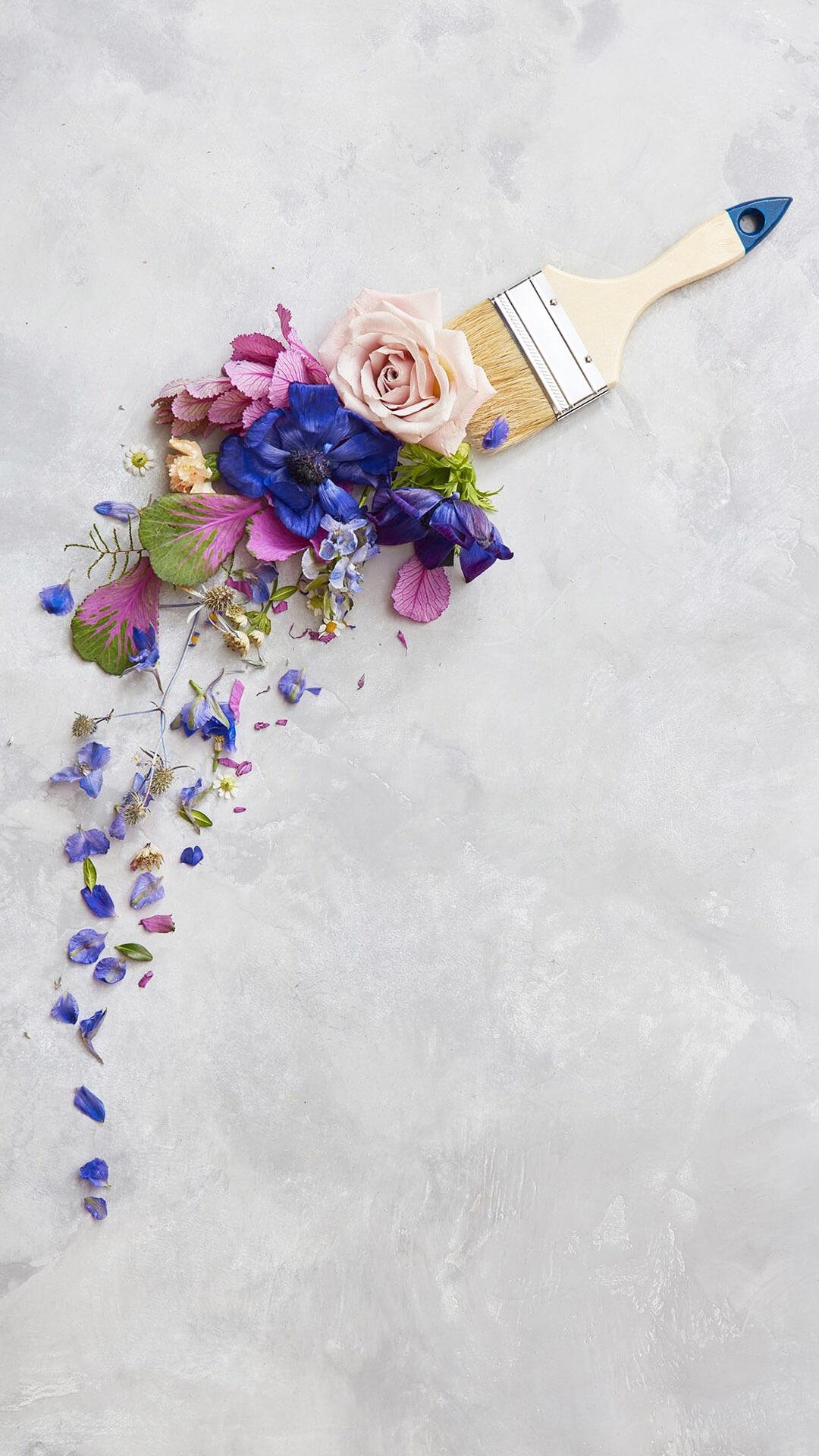鲜花纯色背景图片