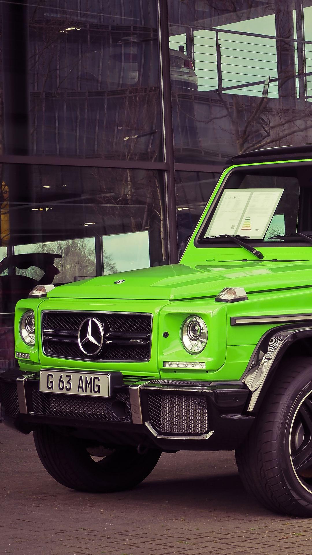 奔馳 越野車 吉普 山地 綠色 名車 蘋果手機高清壁紙