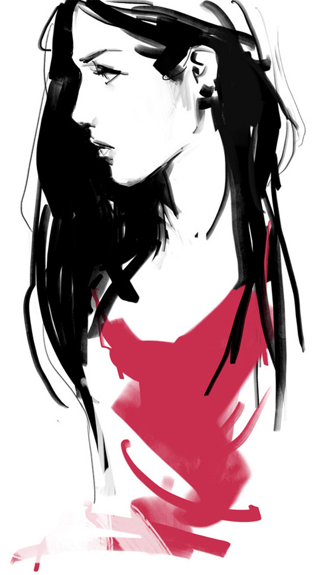 插画 手绘 女生 红色 苹果手机高清壁纸 1080x1920