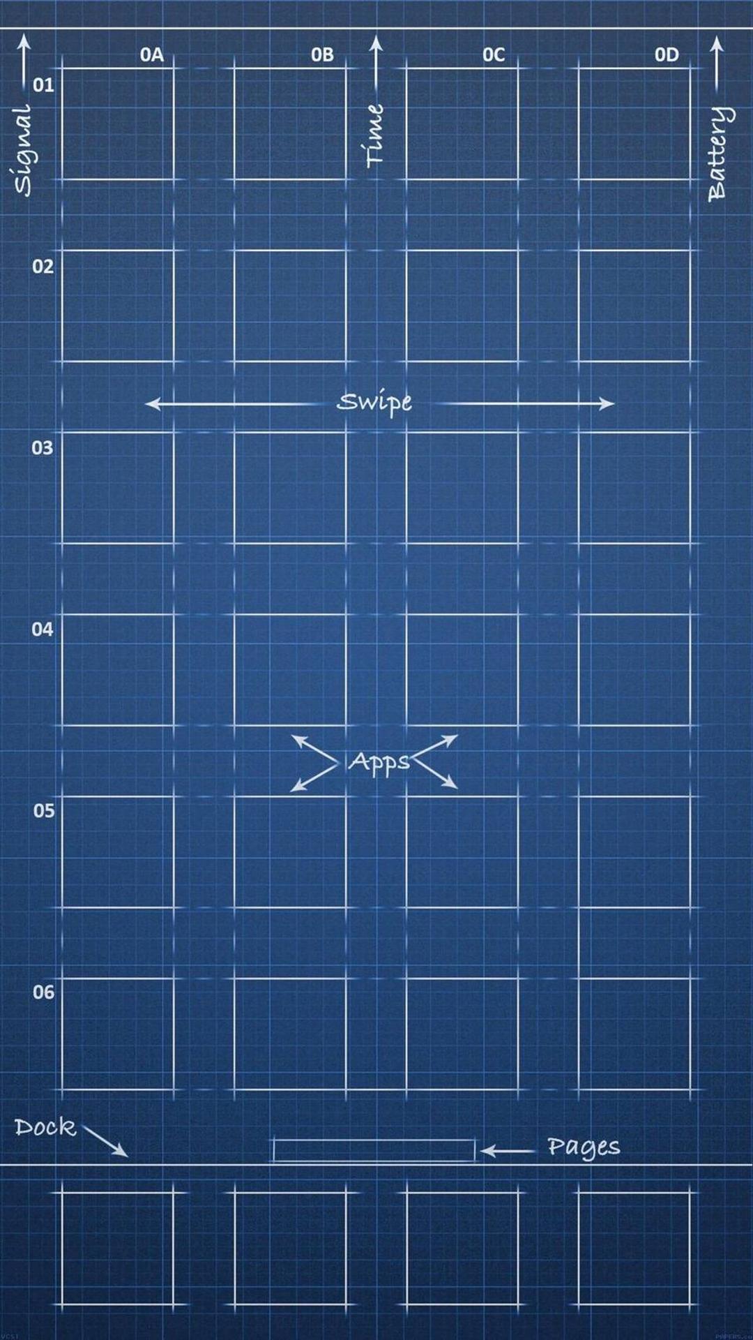 创意 设计 苹果主屏幕 蓝色 线稿