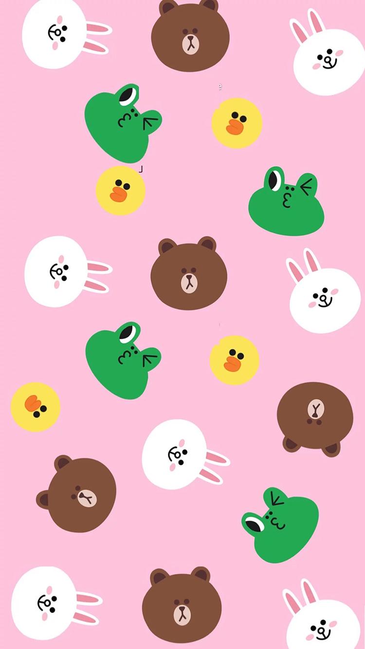 line 布朗熊 可妮兔 萨莉鸡 青蛙 粉色 平铺