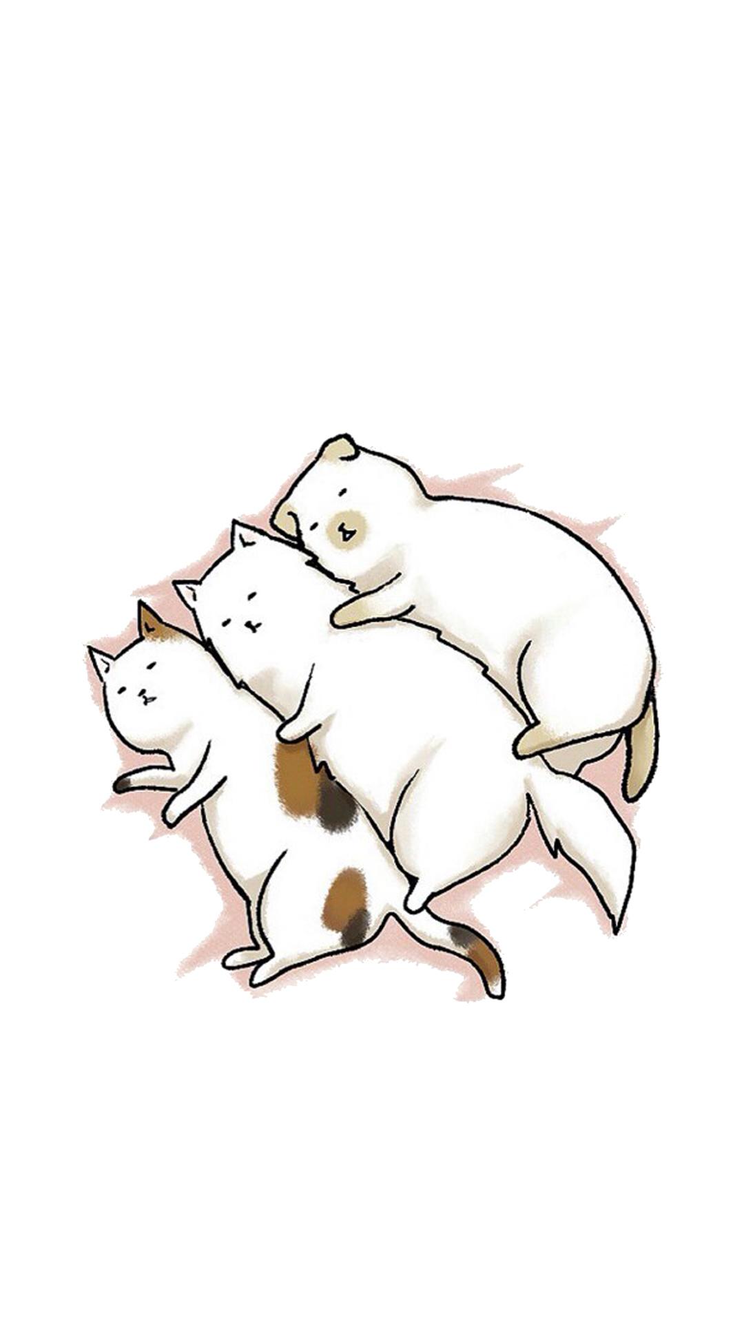 小猫 猫咪 手绘 动物 苹果手机高清壁纸 1080x1920