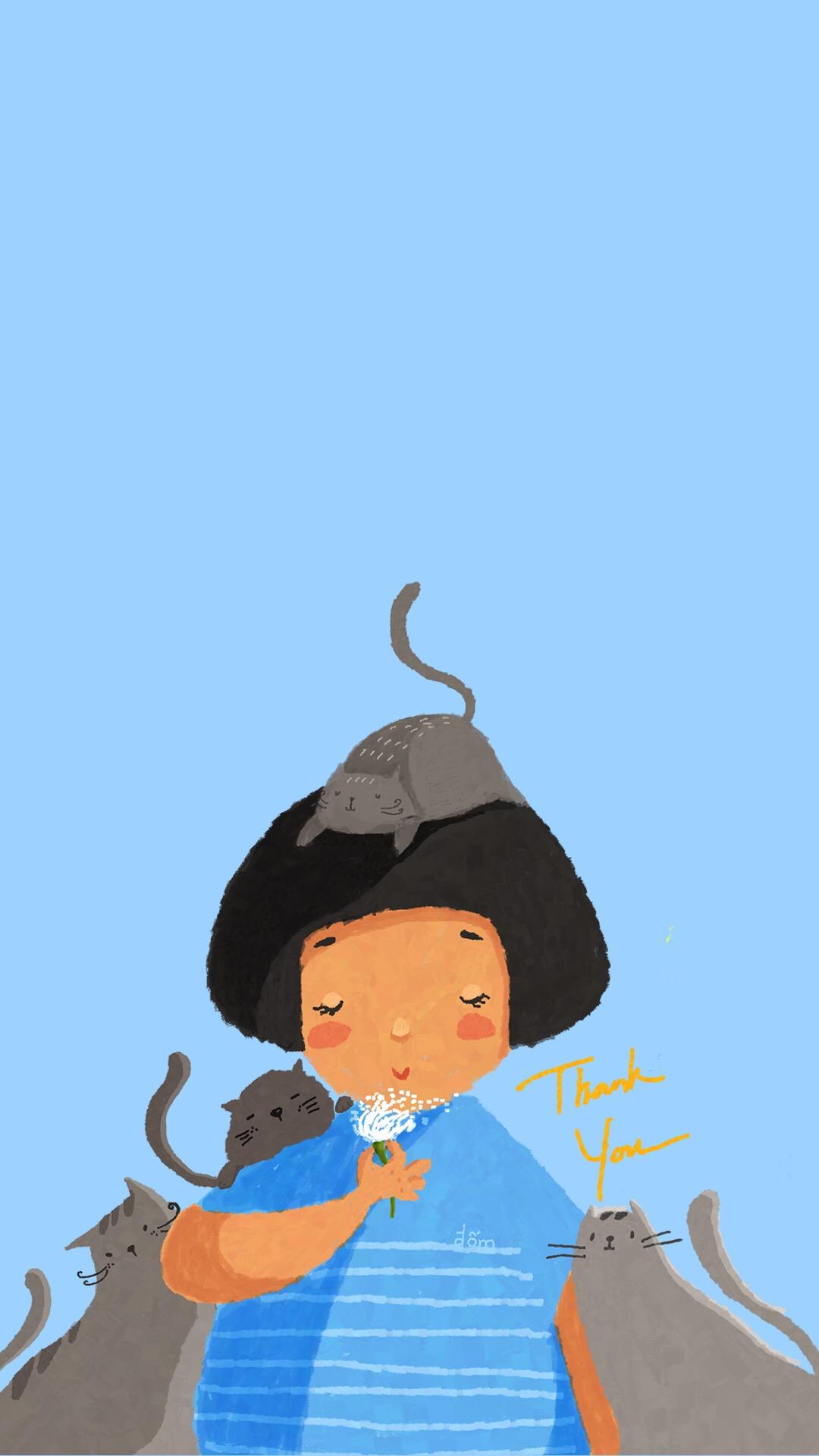 蘑菇头 女孩 猫咪 蓝色 手绘 插画 苹果手机高清壁纸