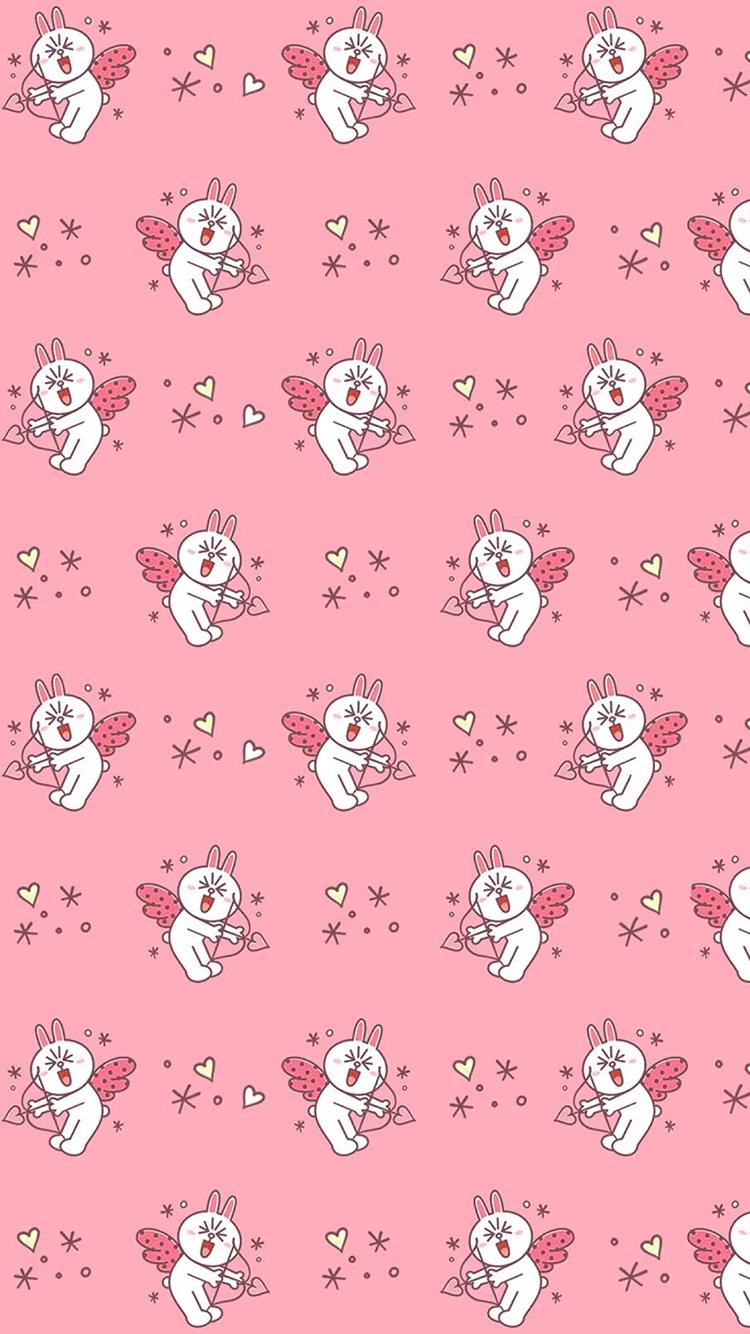 line 可妮兔 爱心天使 平铺 粉色