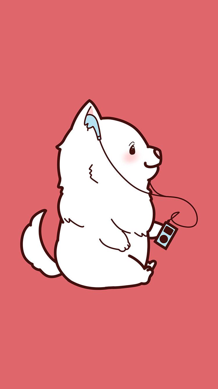 粉色背景 卡通小狗 听歌 可爱 苹果手机高清壁纸 750x