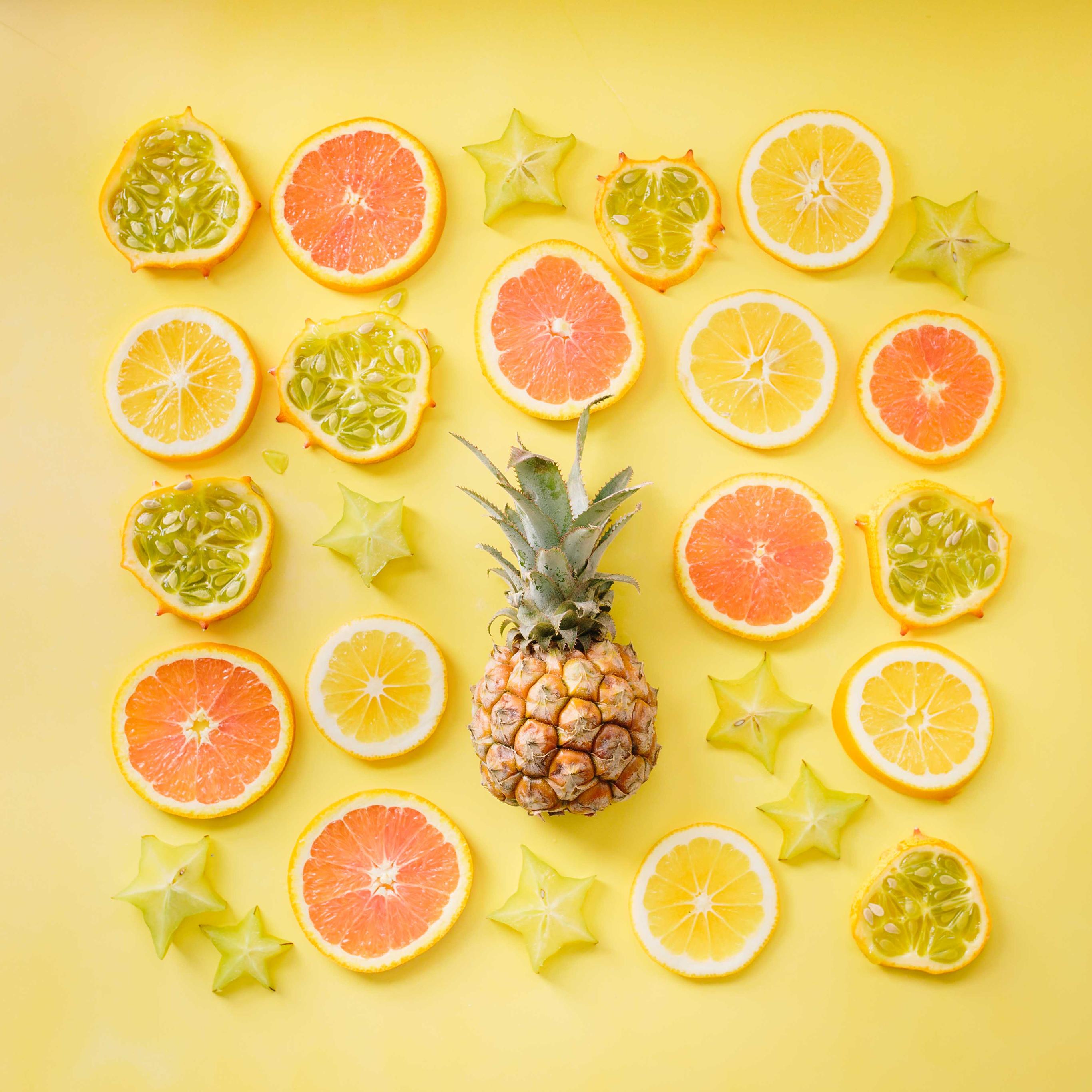 水果 菠萝 西柚 橙 杨桃 平铺 创意