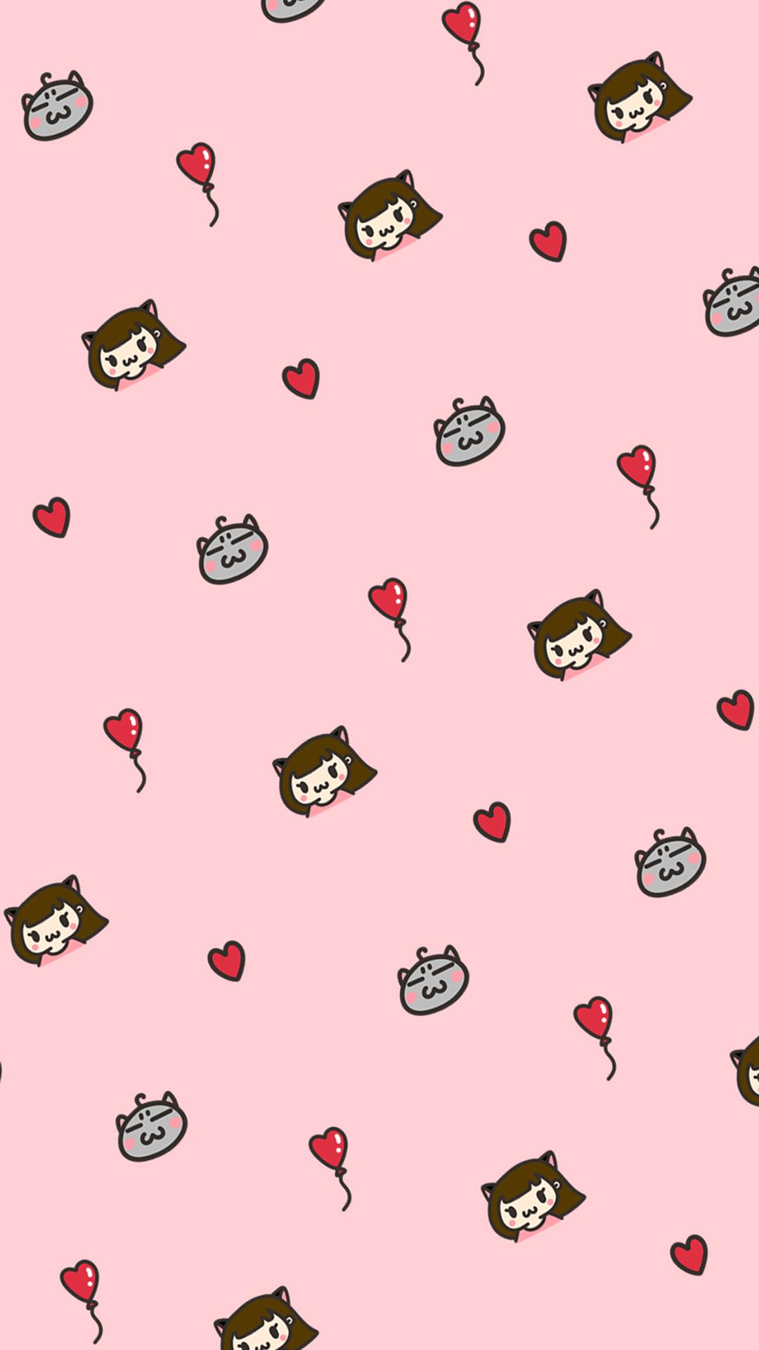电脑上wap网:爱心 粉色 平铺 卡通 可爱 苹果手机高清壁纸 1080x1920