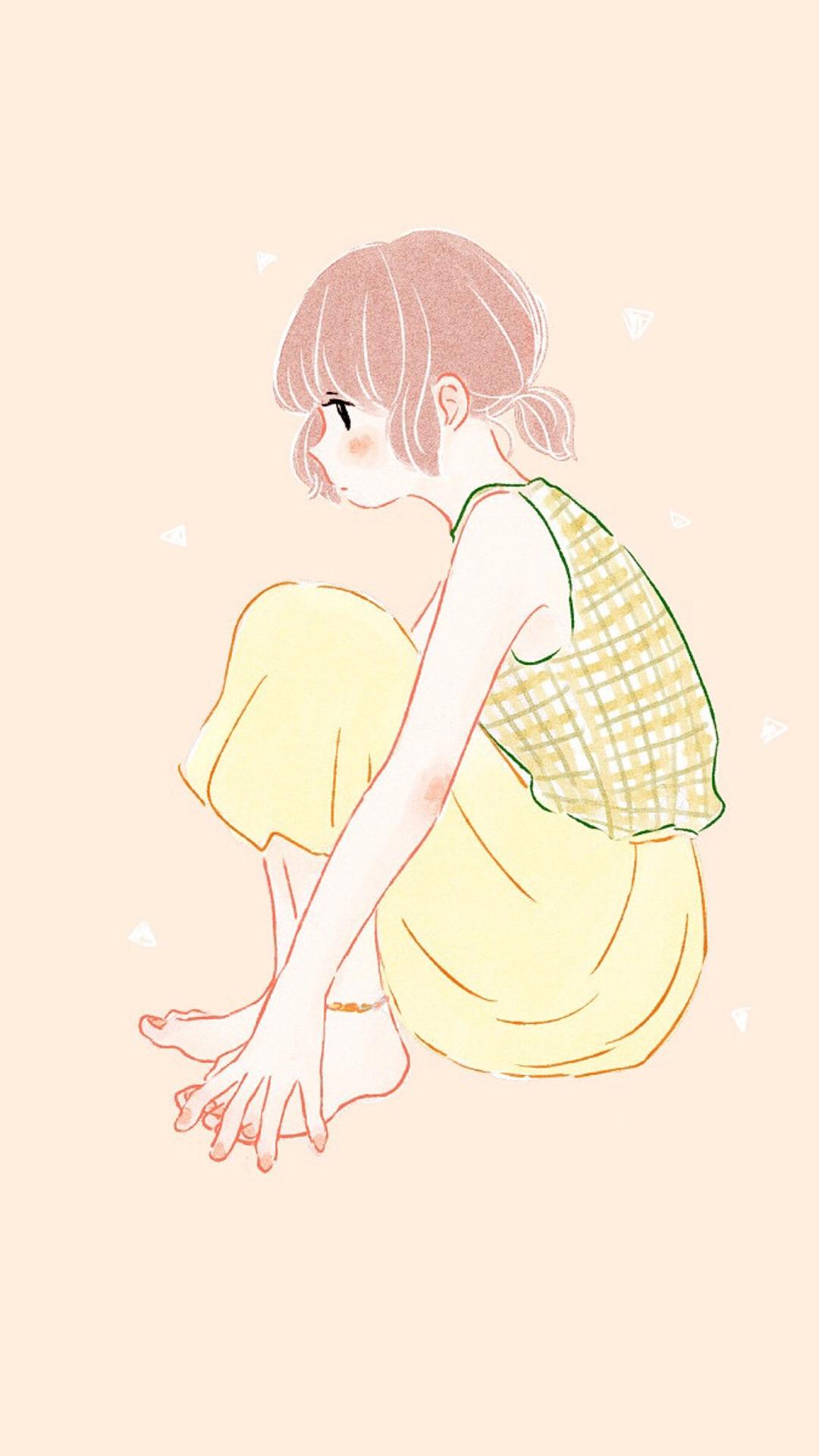 动漫少女 简约 卡通 侧颜