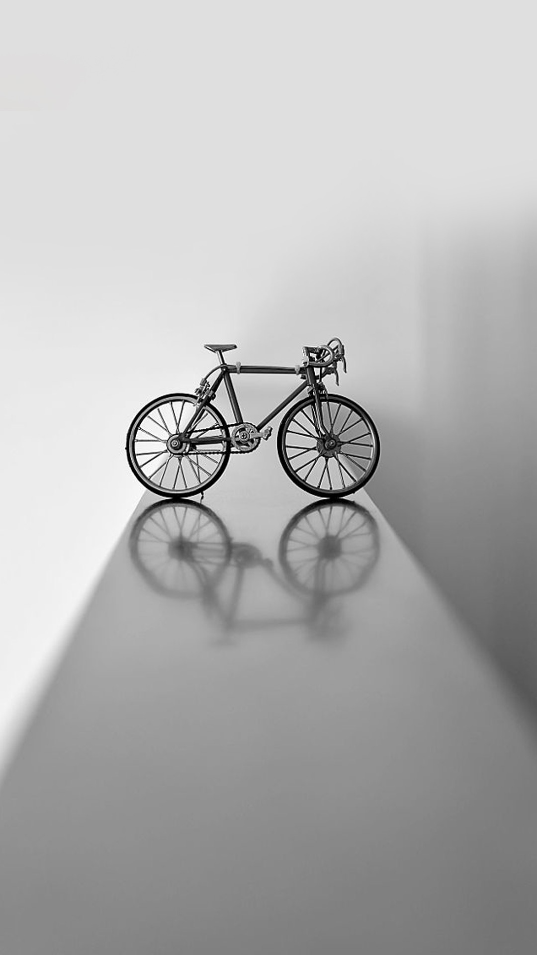 自行车 单车 倒影 黑白 迷你