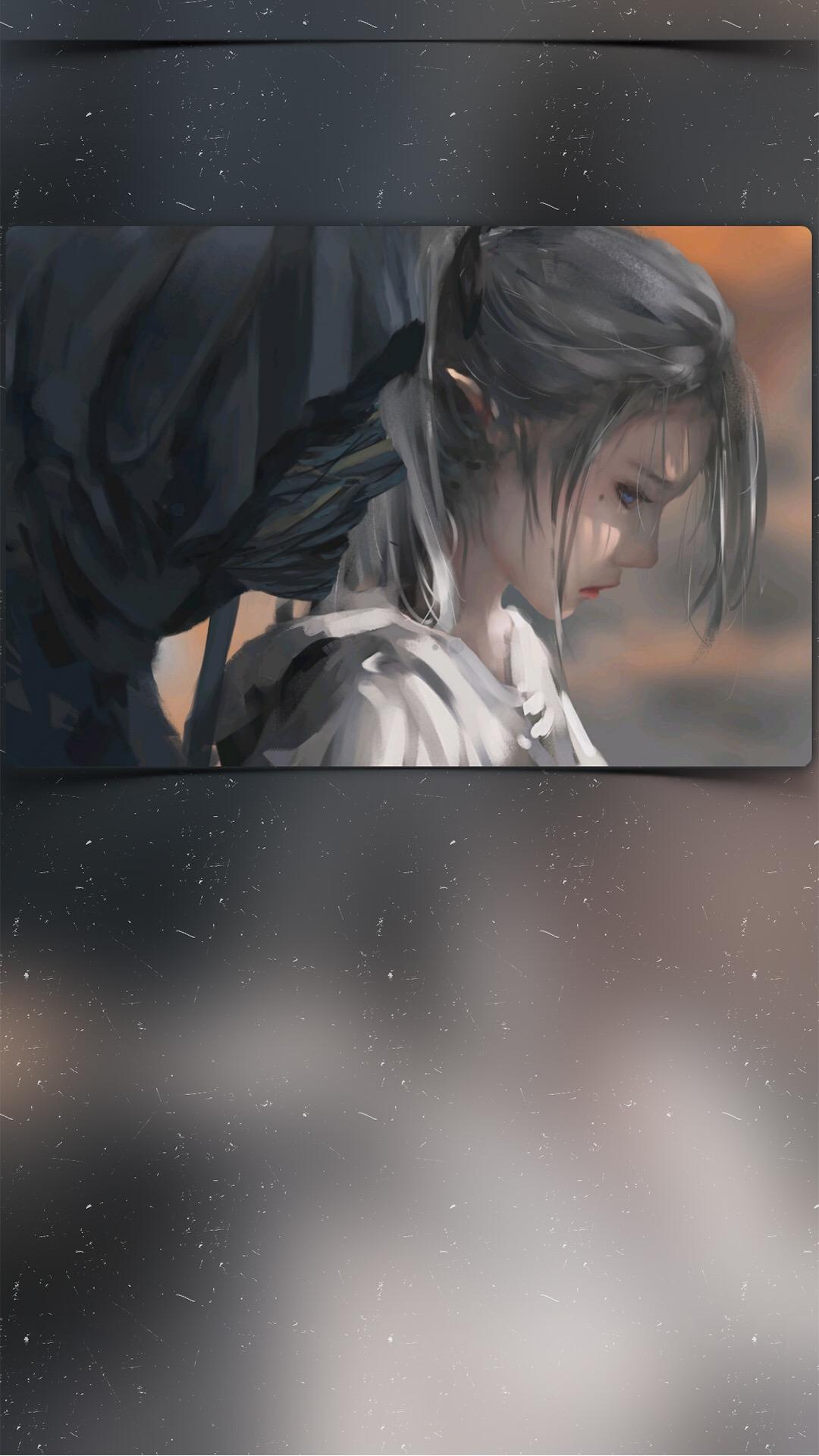 创意立体手绘 女孩 蓝瞳 苹果手机高清壁纸 1080x1920