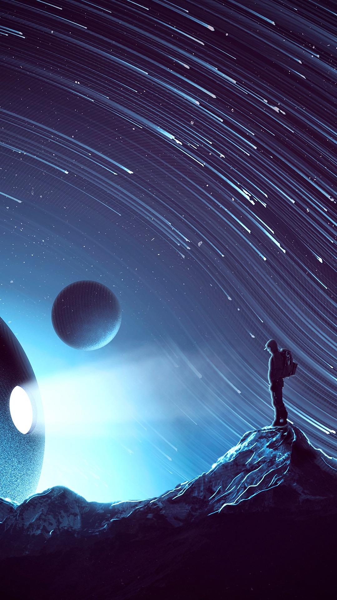 宇宙 星空 流星 蓝色 星球 太空