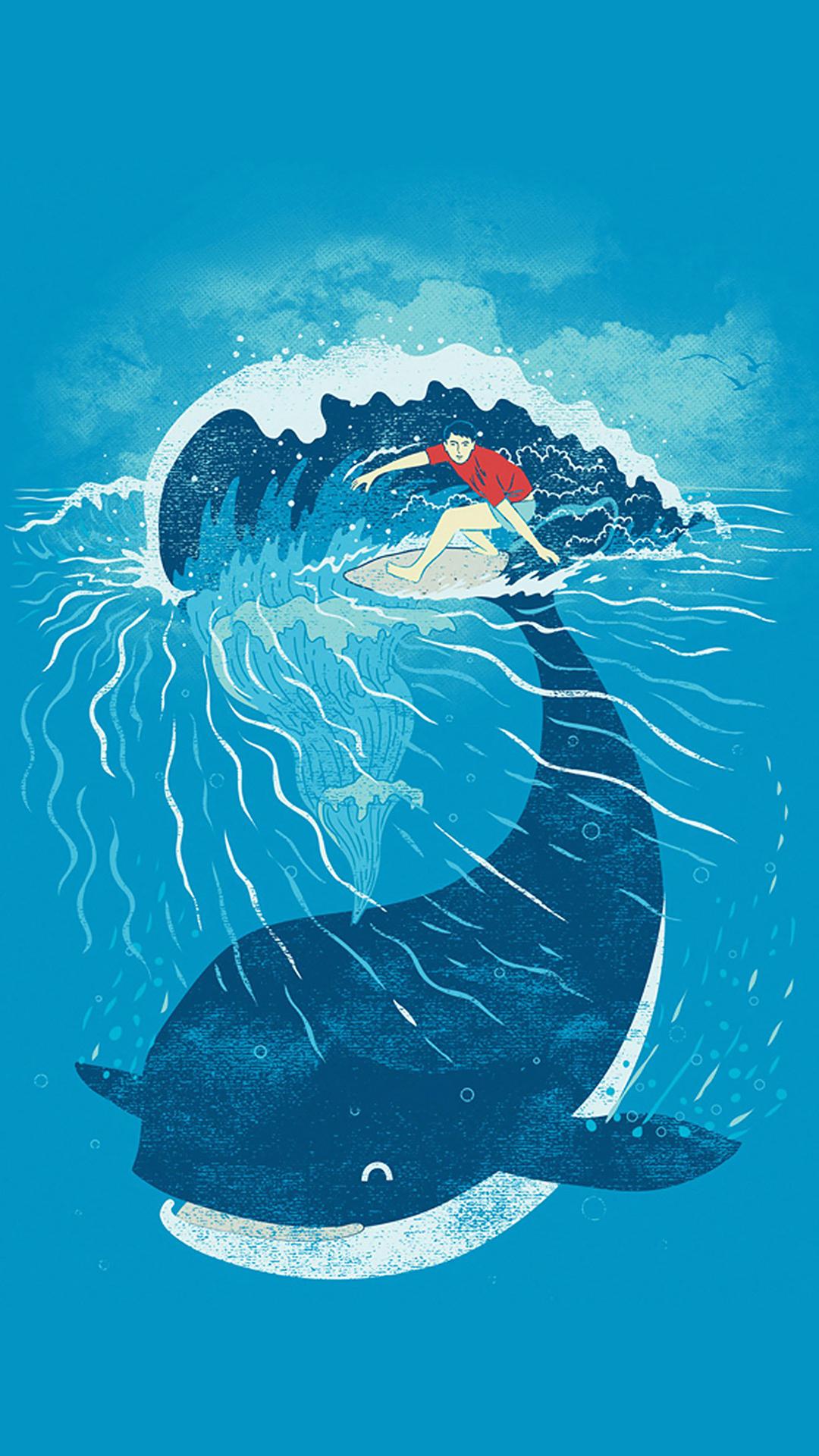 鲸鱼 海洋生物 大海 手绘 创意