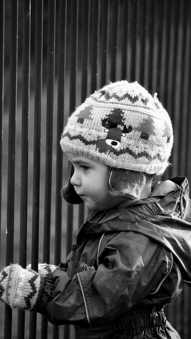 小男孩 黑白 欧美 冬天 侧脸