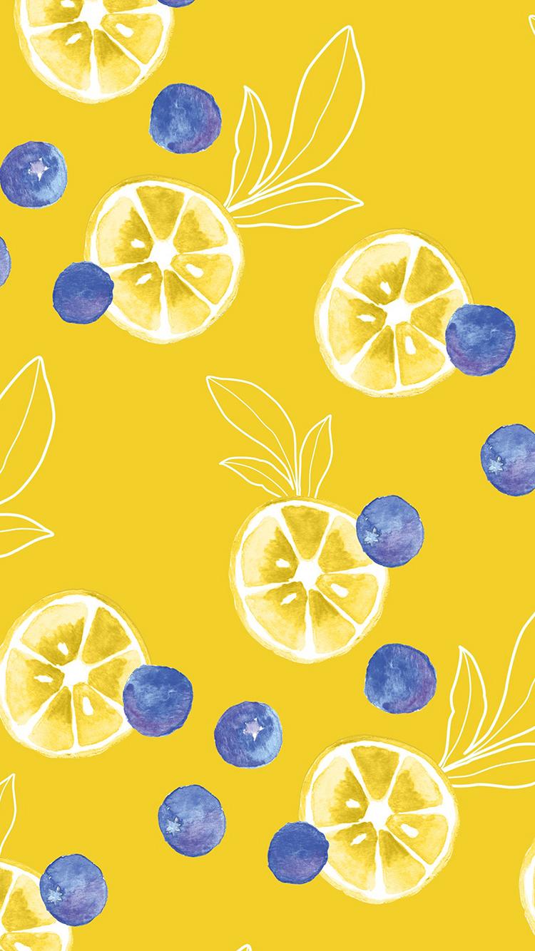 手绘小清新背景 柠檬 蓝莓 平铺