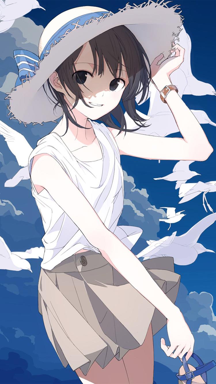 二次元少女 蓝天白鸽