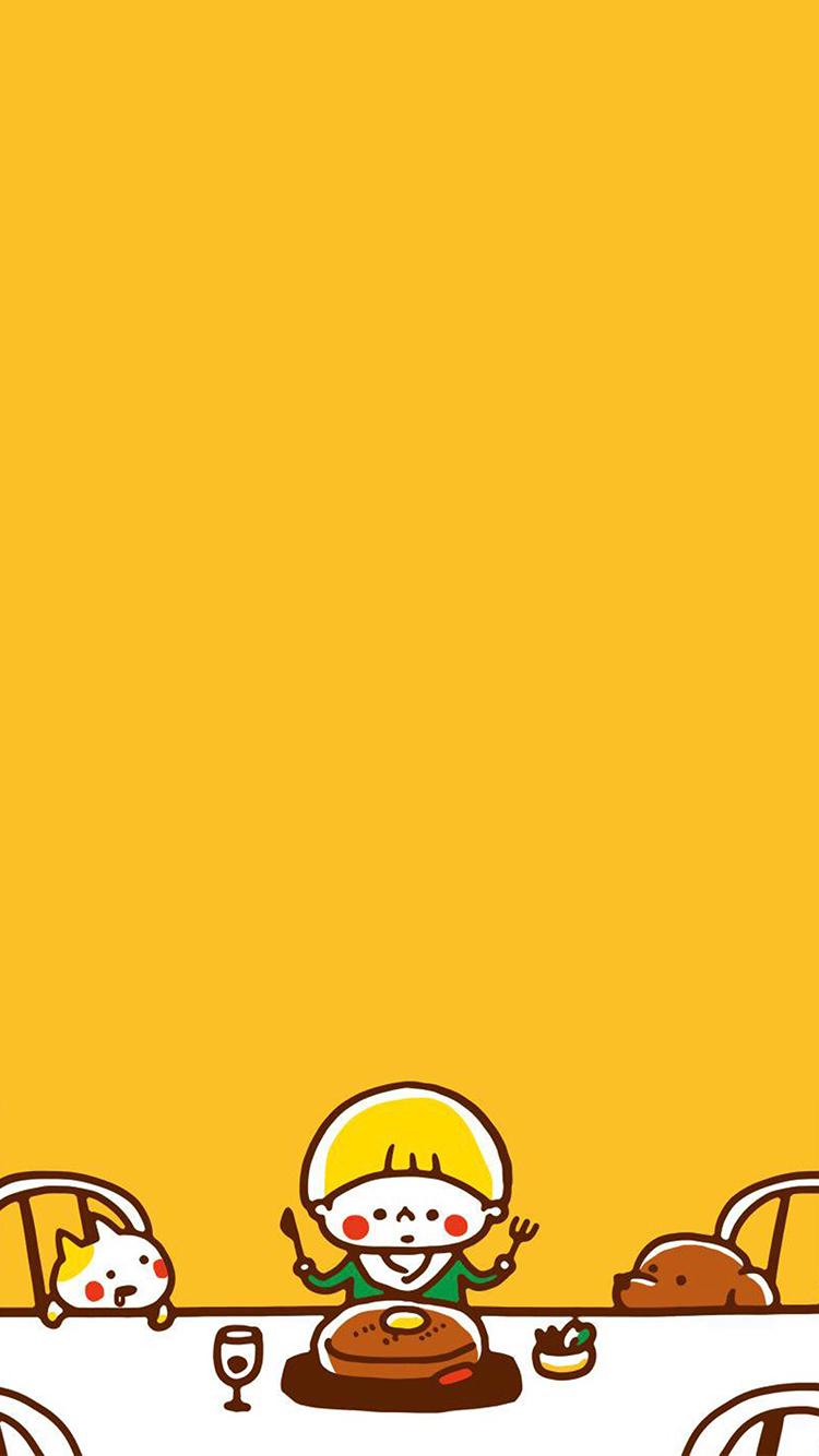 黄色背景 可爱小卡通 男孩
