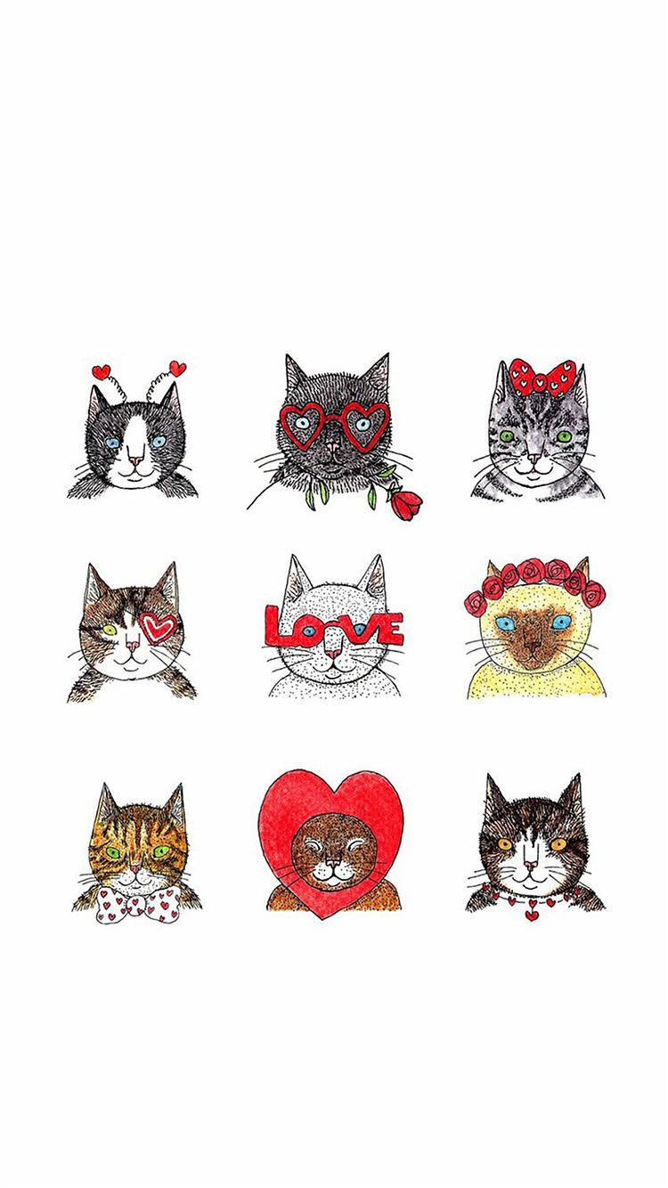 猫咪 手绘 卡通 love