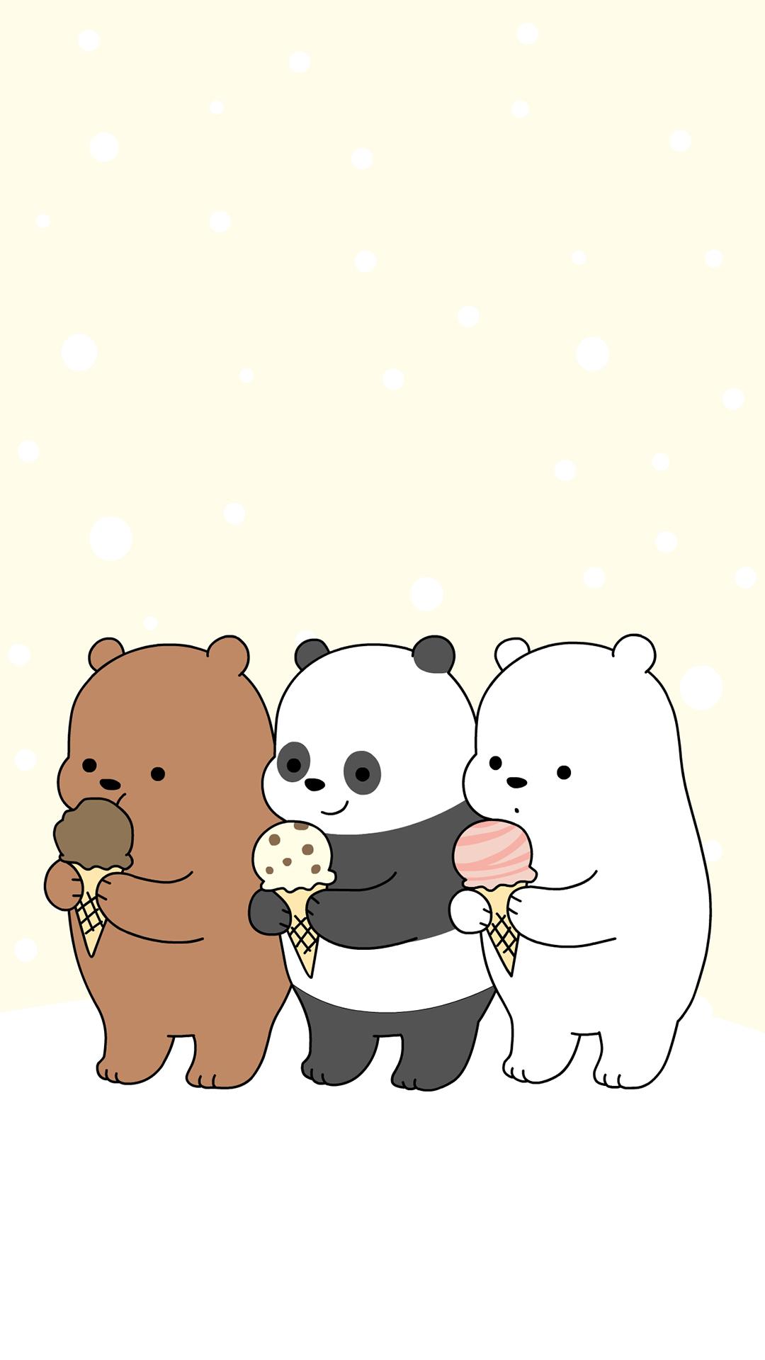 咱们裸熊 冰淇淋 棕熊 北极熊 熊猫 卡通 动画 苹果手机高清壁纸 1080x1920 爱思助手