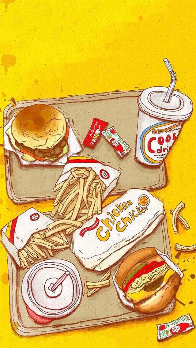 手绘汉堡 薯条 可乐 chicken