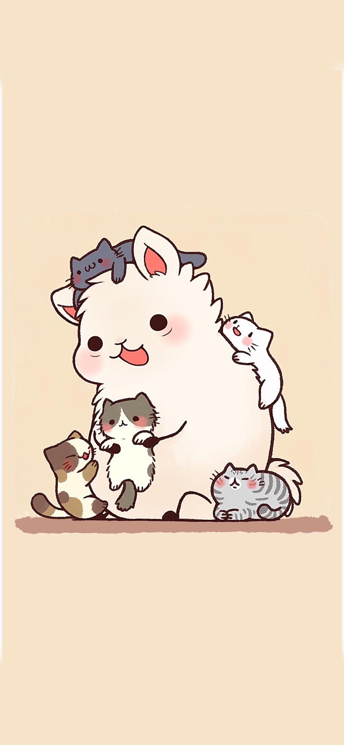 羊驼 卡通 猫咪 手绘 草泥马
