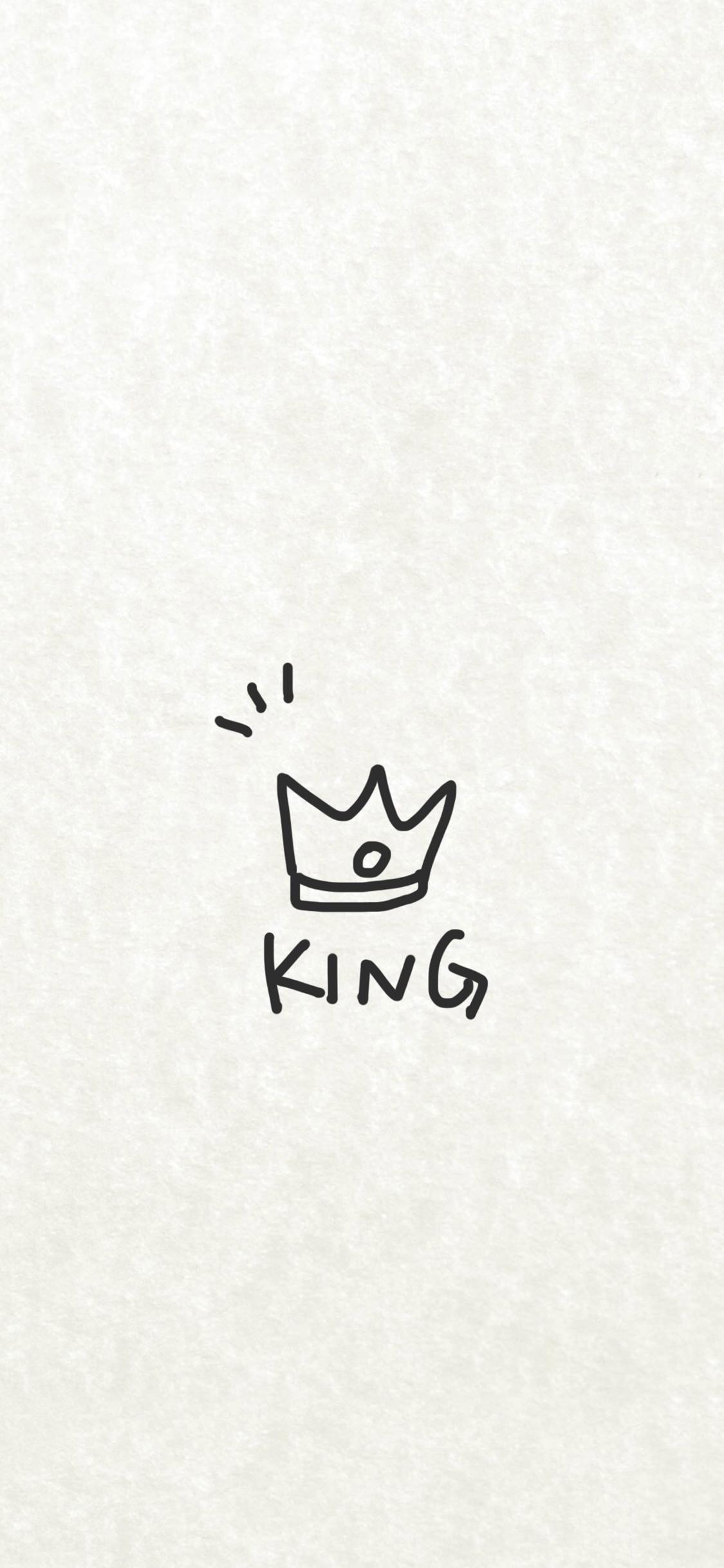 king 國王 情侶壁紙 簡筆畫 皇冠 黑白