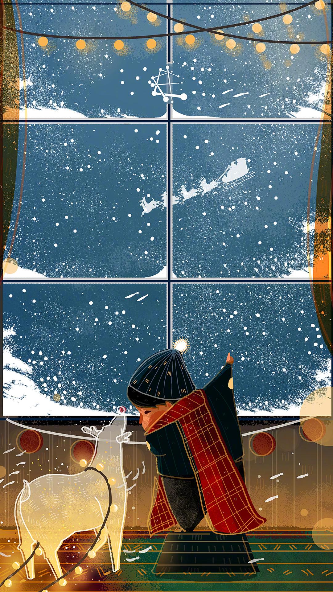 圣诞 手绘 鹿 小女孩 窗外 冬天