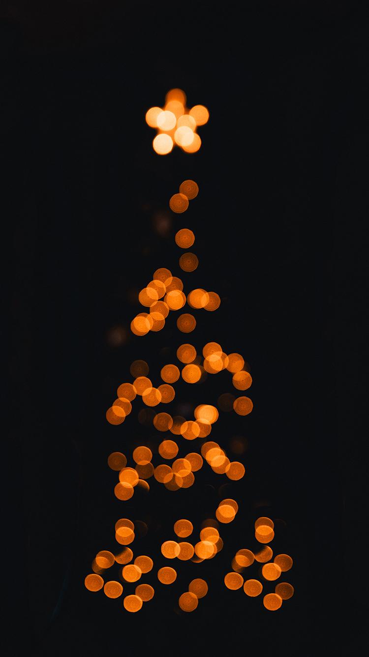 黑色背景 圣诞树 星星 灯光
