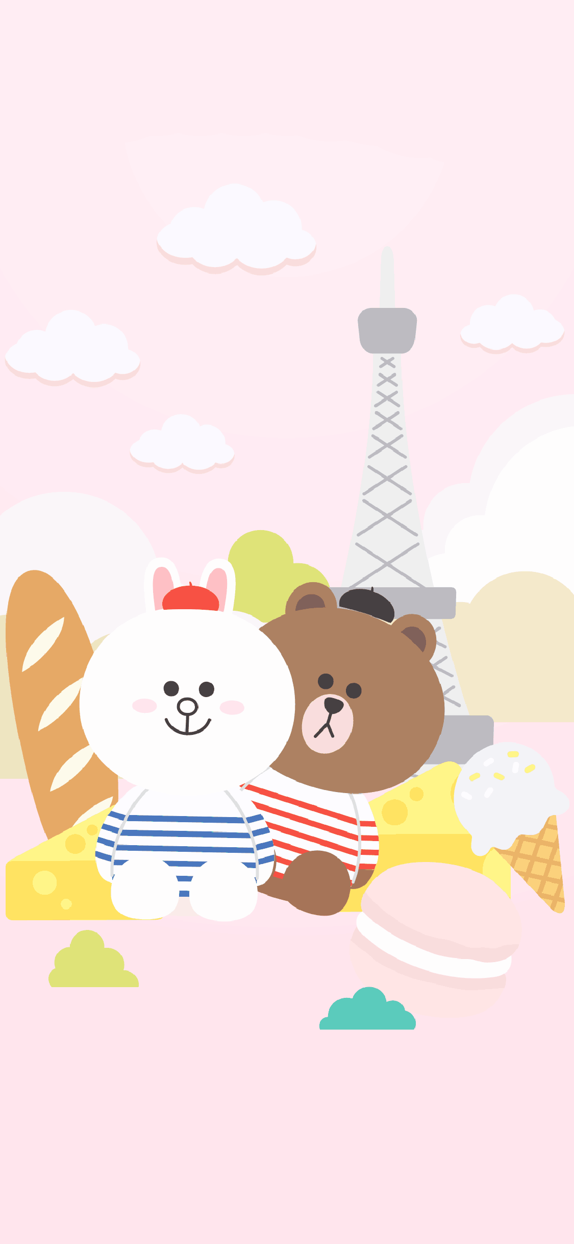 line friends 布朗熊 可妮兔 可爱 粉色 卡通
