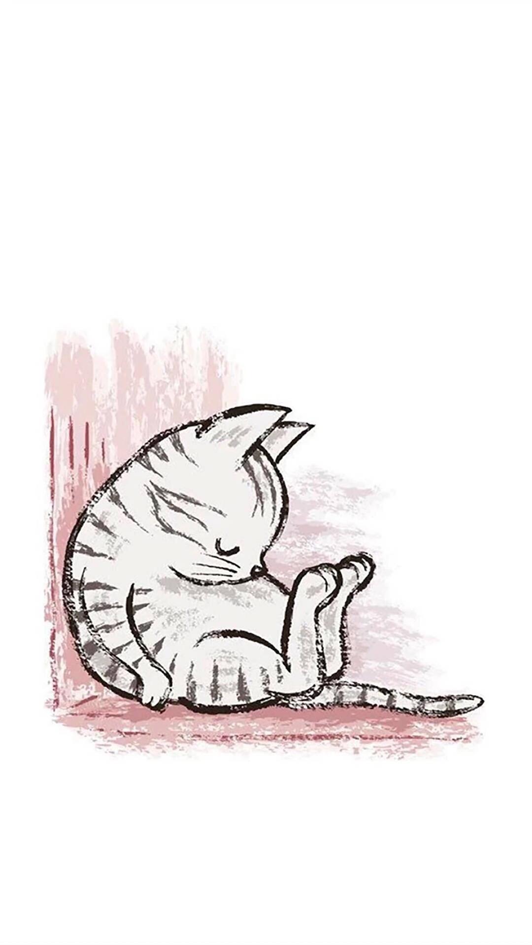 卡通 猫 平铺 可爱 苹果手机高清壁纸 1080x1920 爱思助手